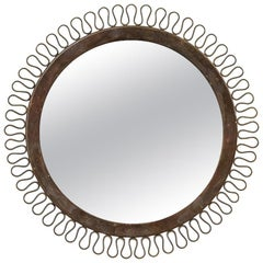 Swedish Midcentury Round Brass Mirror
