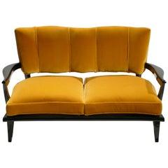Velvet Sofa by Etienne-Henri Martin for Steiner, 1950s