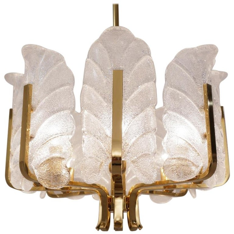 Carl Fagerlund Orrefors Chandelier Glass Leaves and Brass, Eight-Light, Swedish