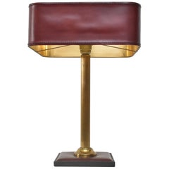 Jacques Adnet Burgundy Leather Table Lamp