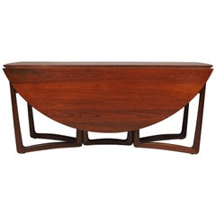 Hvidt Nielsen Danish Modern Solid Teak Drop-Leaf Dining Table Model 20/59
