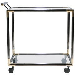 French Gunmetal and Brass Bar Cart, 1970s