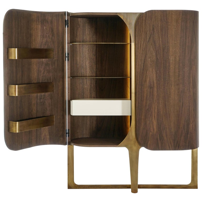 Boji Cabinet, Contemporary Bar Cabinet in Aged Brass and Walnut with Lighting