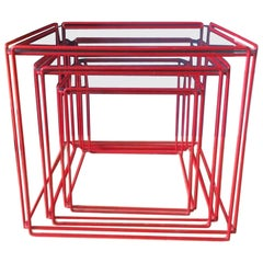 Set of Three Graphical 'Isocele' Red Nesting Tables Max Sauze for Atrow, 1970