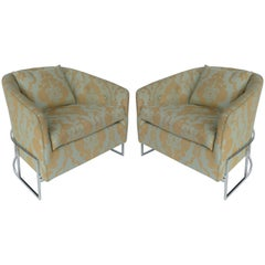 Milo Baughman Club Chairs with Chrome Bases, Pair