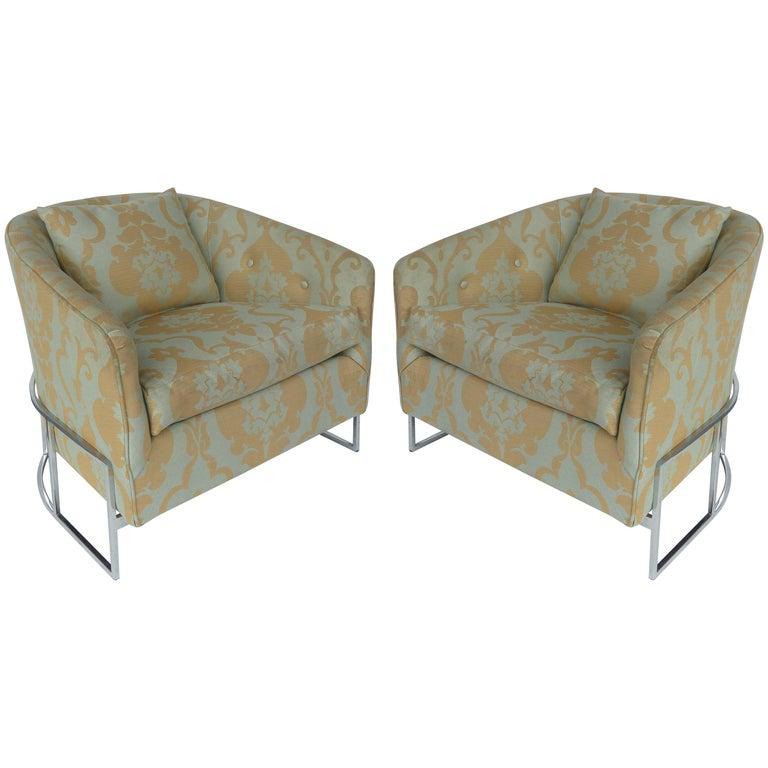 Milo Baughman Club Chairs with Chrome Bases, Pair