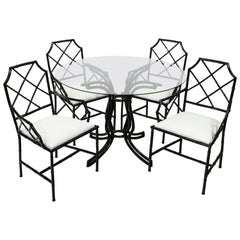 Chinese Chippendale Black Style Metal Bamboo Dining Set