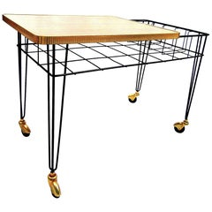 Mid-Century Modern Metal and Wooden Serving Trolley, 1960s