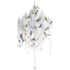"""Bird Chandelier"" Crystal Chandelier with Taxidermy Birds by Sebastian Errazuriz"
