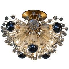 Emil Stejnar Starburst Brass and Glass Flush Mount Light Fixture