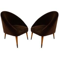 Midcentury Gio Ponti Style Club Chairs, Pair