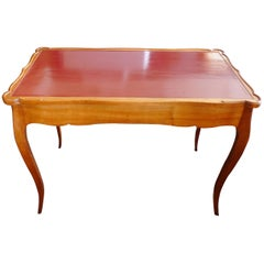 French XIX Hand-Carved Hand-Painted Game Table or Desk with Two End Drawers