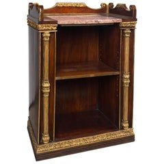 Pair of Continental Book Cabinet with Marble Tops