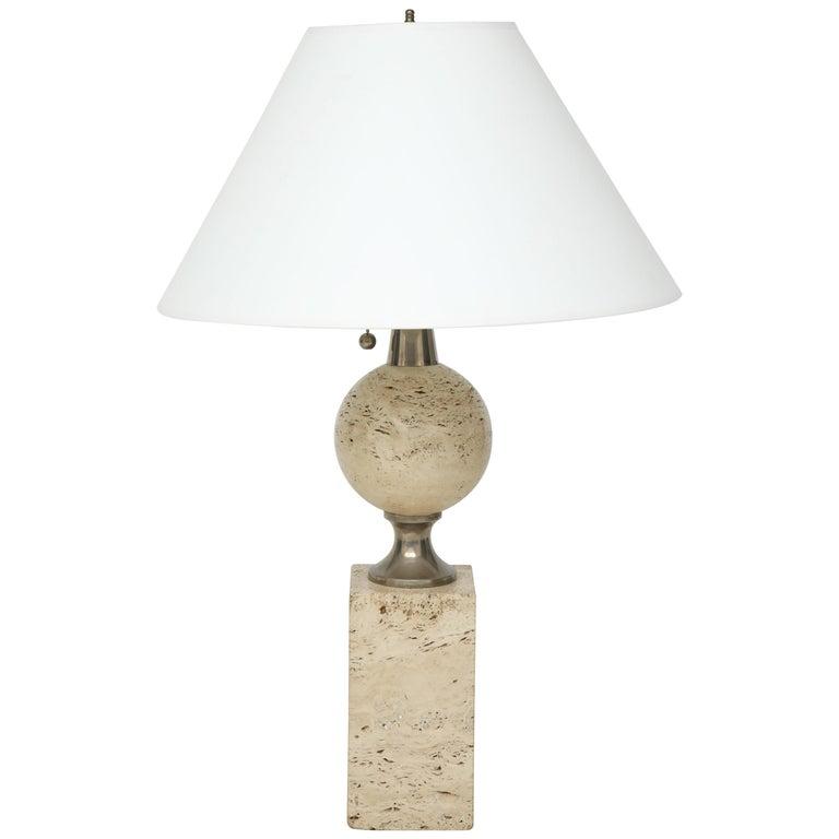 Mid-20th Century Travertine Lamp