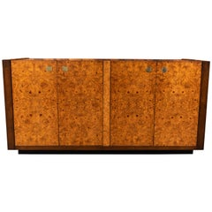Refinished Vintage Burl and Brass Credenza by Century Furniture