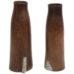 Pair of Tall Wooden Ethiopian Milk Holders