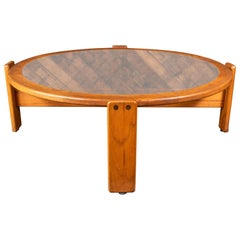 Vintage 1970s Lou Hodges Round Smoked Glass Coffee Table in Oak
