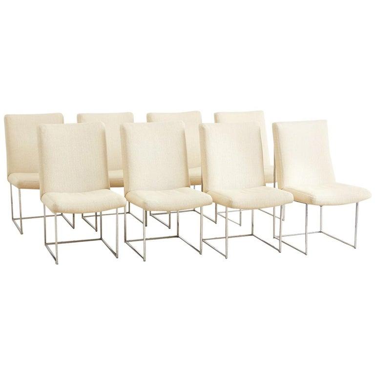 Set of Eight Milo Baughman 1187 Chrome Dining Chairs