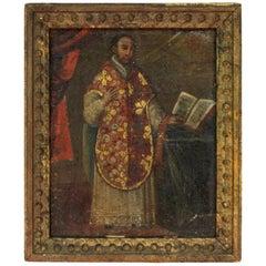 Baroque South American Oil on Canvas on Panel Portrait of Saint Ignacio
