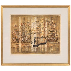 Vintage Midcentury Lithograph of Orchestra Signed and Numbered by the Artist