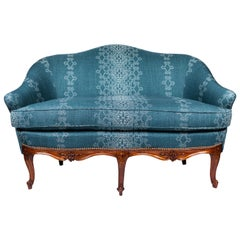 1940s Settee with Three Queen Anne Style Front Legs and Carvings