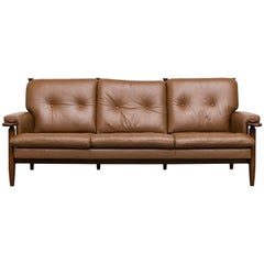 Scandinavian Leather Sofa with Leather Strap Supports