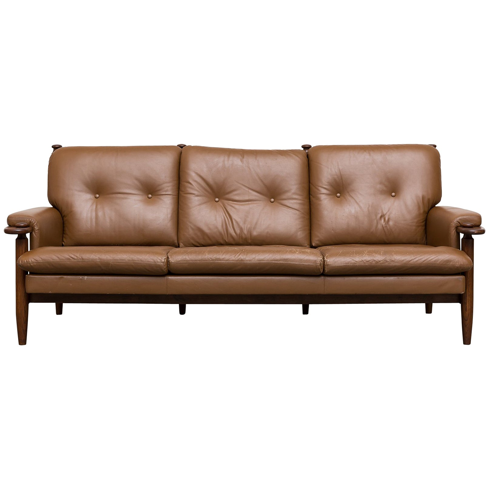 Scandinavian Leather Sofa with Leather Strap Supports at 1stdibs