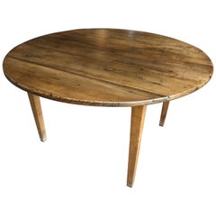 Round French Country Farm Table, 19th Century
