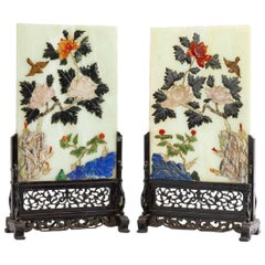 Antique Pair of Chinese Carved Gemstone Table Screens on Wooden Bases