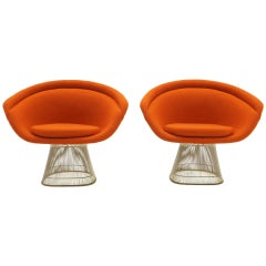 Warren Platner Lounge Chairs for Knoll, Wire Frames, Orange Maharam Fabric, Pair