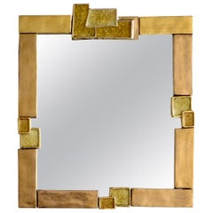 Francois Lembo French Gilded and Crystalline Ceramic Mirror