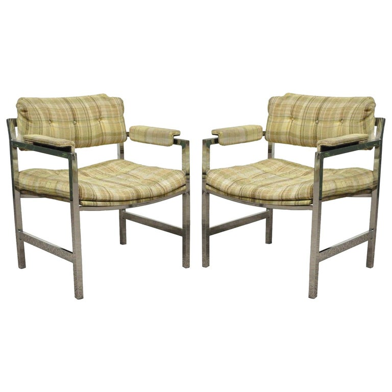 Pair of Mid-Century Modern Baughman Probber Chrome Floating Arm Lounge Chairs