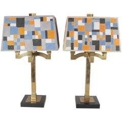 Pair of Mid-Century Modern Brass Table Lamps with Hand-Painted Shades