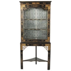 John Richard Chinese Corner Cabinet with Distressed Mirrored Back