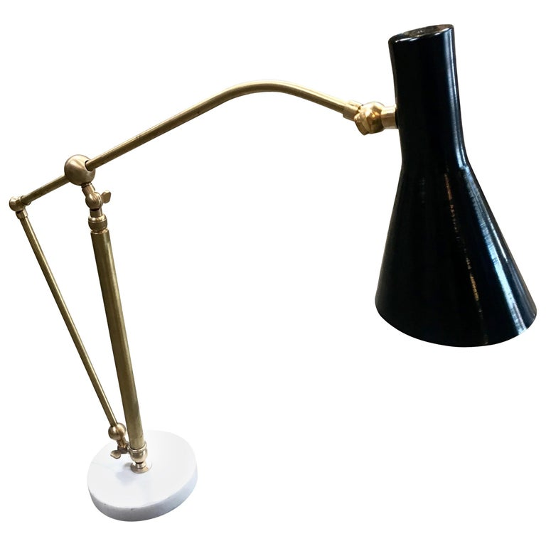 Italian Adjustable Table Lamp in Brass and Carrara Marble, 1950s For Sale