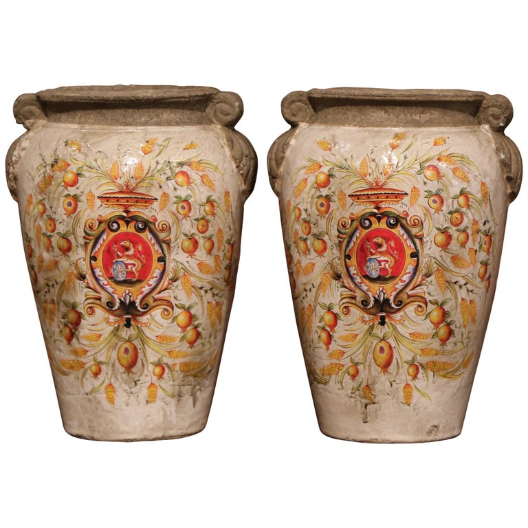 Pair Of Italian Decorative Hand Painted Vases With Wheat And Fruit