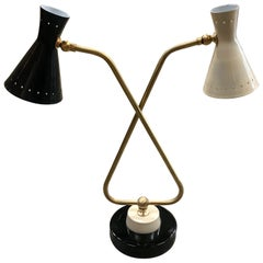 Midcentury Double Arms in Brass Table Lamp, Italy, 1950s