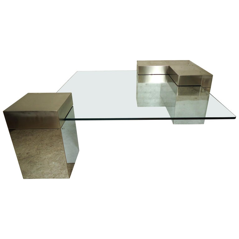 Paul Evans Style Glass Coffee Table