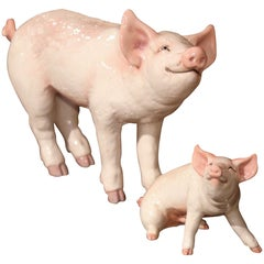 Late 20th Century Painted Ceramic Pig and Piglet Sculptures Set from Townsend