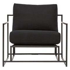 Black Canvas and Blackened Steel Armchair