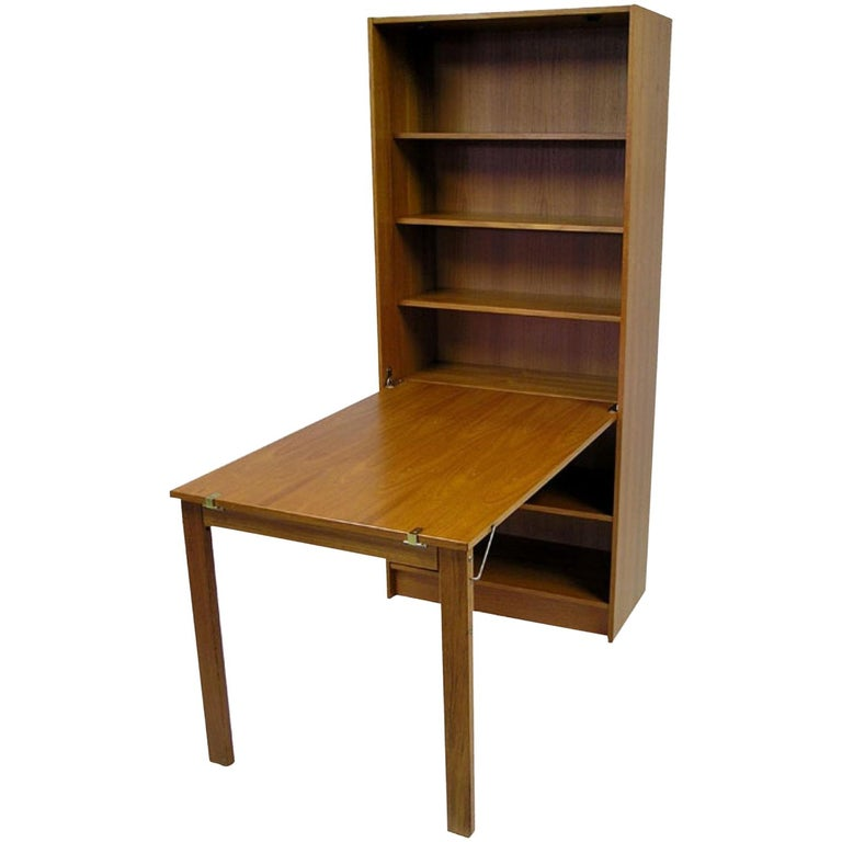 Domino Mobler Danish Teak Bookshelf Desk For Sale