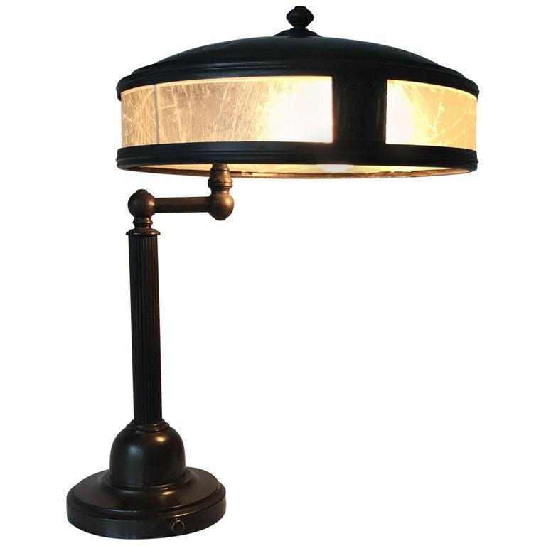 Jugendstil Era Arts & Crafts Patinated Brass Table or Desk Standard Lamp For Sale