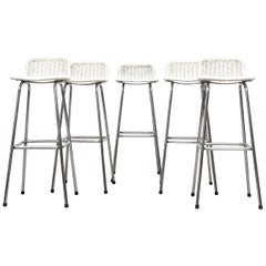 Charlotte Perriand Style White Wicker Bar Stools