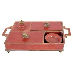 Antique Chinese Red Cloisonné Enamel Opium Smoking Set Box with Accoutrements