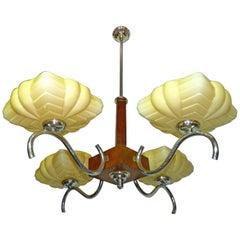 Modernist French Art-Deco w Wood,Chrome & Yellow Double Glass Bauhaus Chandelier
