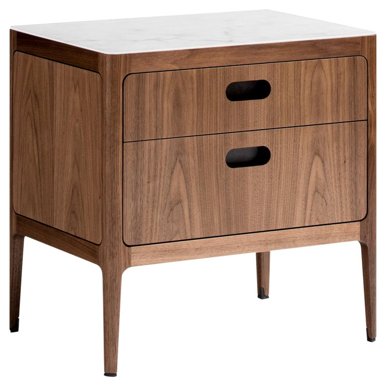 Radius Two-Drawer Side Table or Nightstand in Walnut with Alabaster Resin Top For Sale