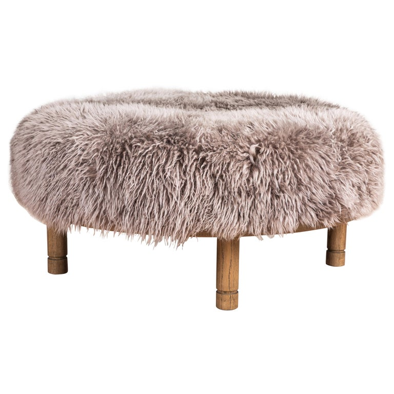 Moreno Ottoman in Shearling by Lawson-Fenning For Sale