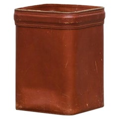Jacques Adnet Leather Waste Basket