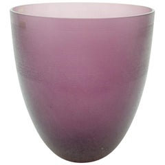 Large Purple Murano Glass Vase by Barbini