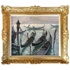"""""""Gondoliers in Venice"""" by Jacques Martin-Ferrières"""